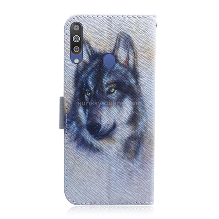 SUNSKY - หมาป่าสีขาวลายการวาดภาพสีซองหนังพลิกแนวนอนสำหรับ