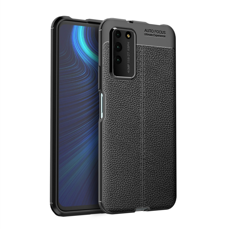 For Honor X10   Litchi Texture TPU Shockproof Case(Black)