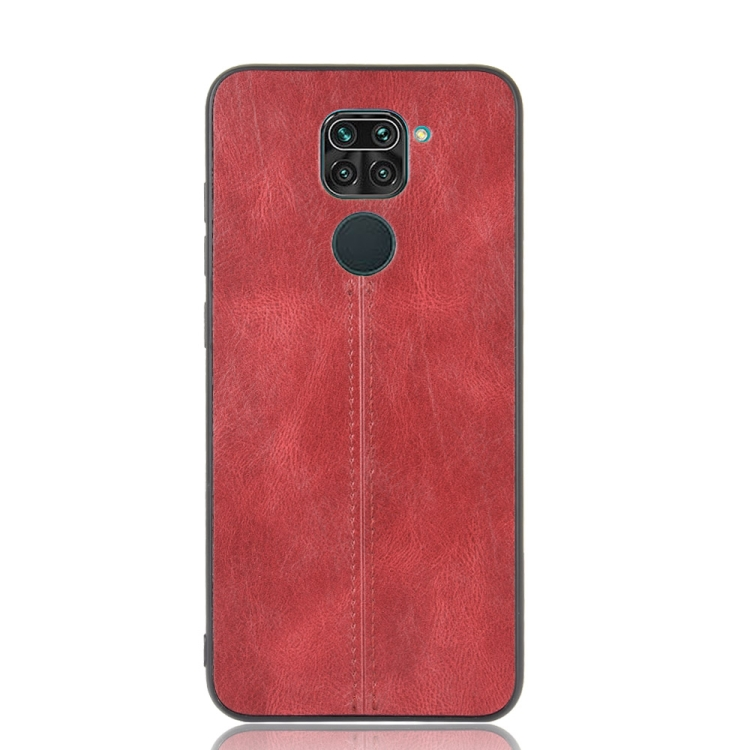 For Xiaomi Redmi Note 9/Redmi 10X 4G Shockproof Sewing Cow Pattern Skin PC + PU + TPU Case(Red)
