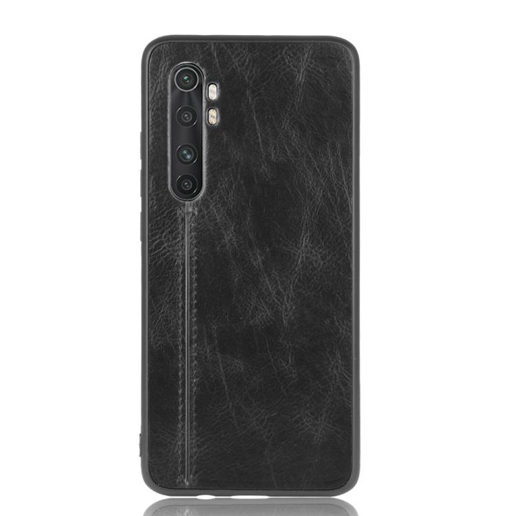 For Xiaomi Mi Note 10 Lite Shockproof Sewing Cow Pattern Skin PC + PU + TPU Case(Black)