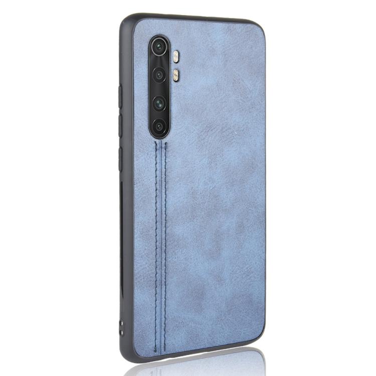 For Xiaomi Mi Note 10 Lite Shockproof Sewing Cow Pattern Skin PC + PU + TPU Case(Blue)