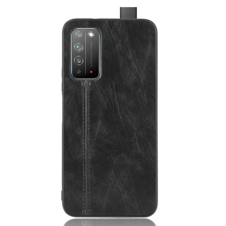 For Honor X10 Shockproof Sewing Cow Pattern Skin PC + PU + TPU Case(Black)