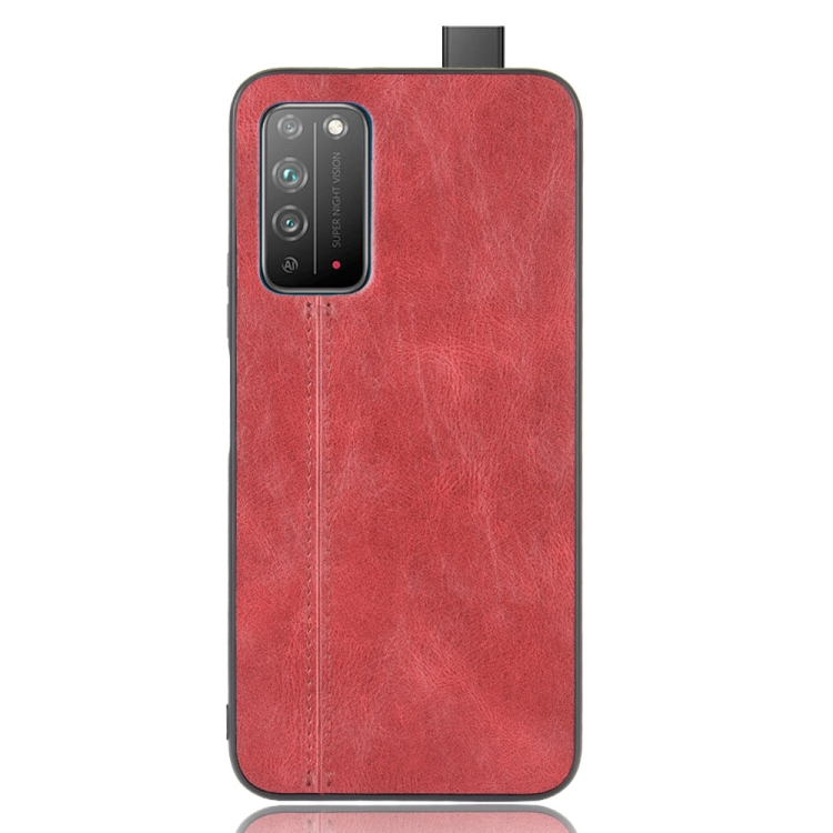 For Honor X10 Shockproof Sewing Cow Pattern Skin PC + PU + TPU Case(Red)