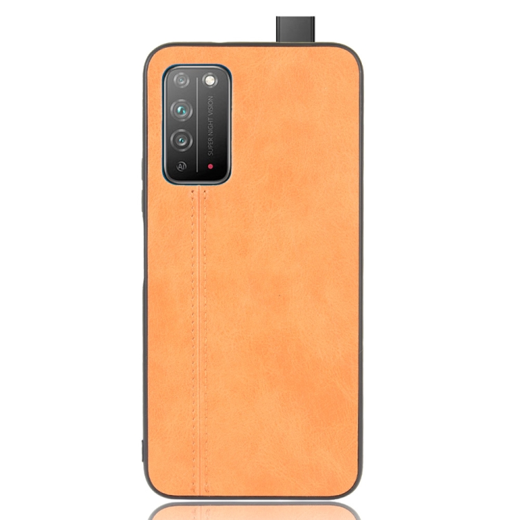 For Honor X10 Shockproof Sewing Cow Pattern Skin PC + PU + TPU Case(Orange)