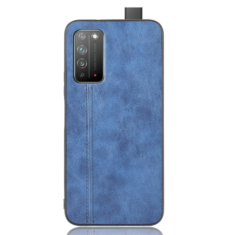 For Honor X10 Shockproof Sewing Cow Pattern Skin PC + PU + TPU Case(Blue)