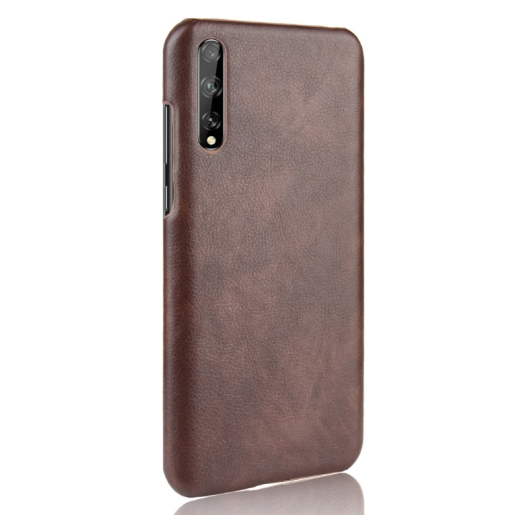 For Huawei Y8p Shockproof Litchi Texture PC + PU Case(Brown)