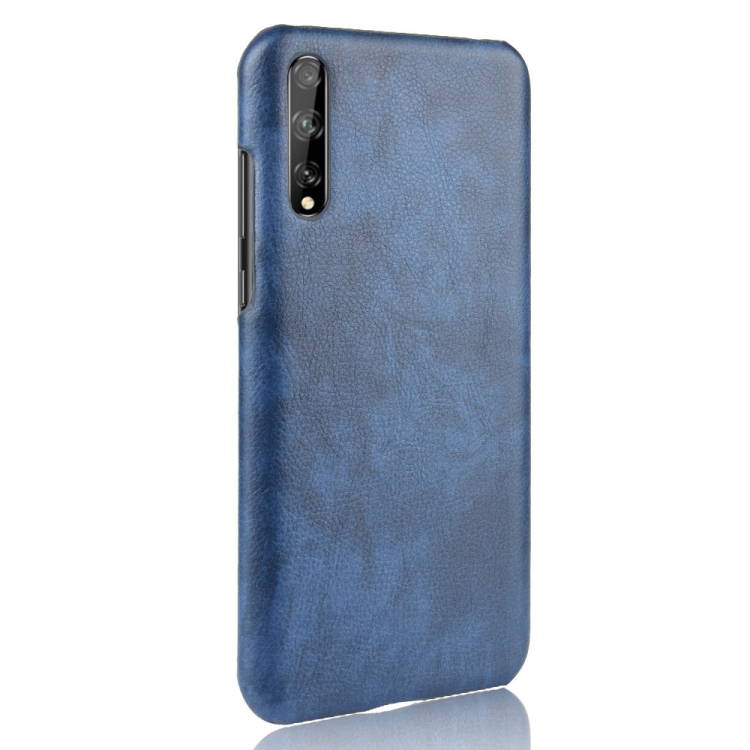 For Huawei Y8p Shockproof Litchi Texture PC + PU Case(Blue)