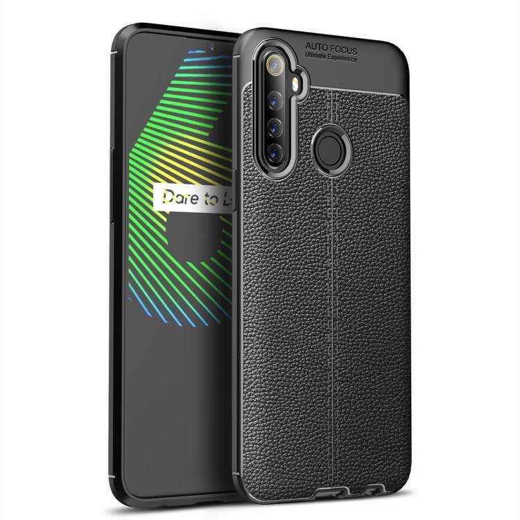 For Realme 6i   Litchi Texture TPU Shockproof Case(Black)