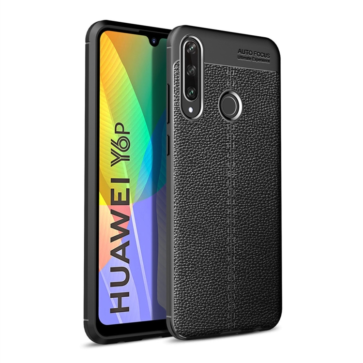 For Huawei Y6P   Litchi Texture TPU Shockproof Case(Black)
