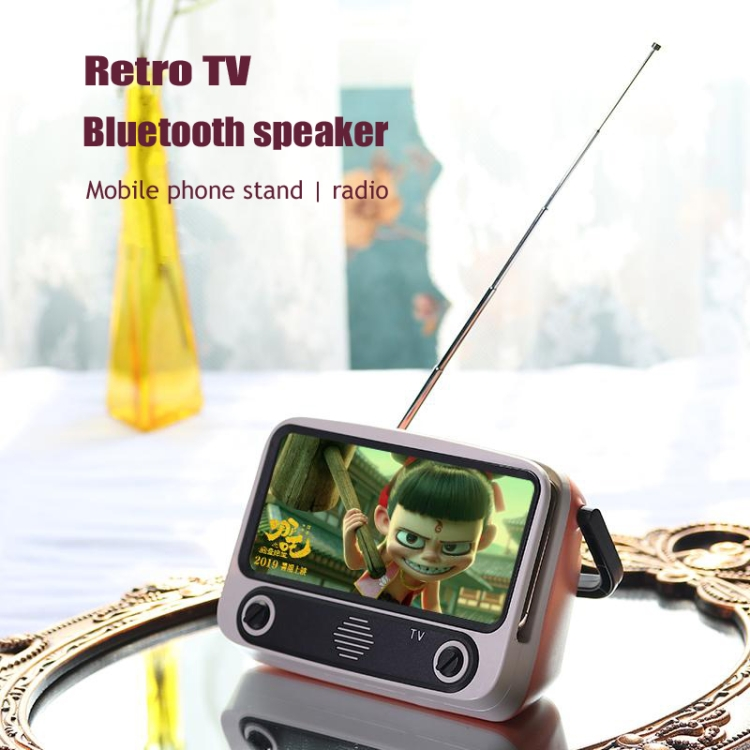 Sunsky Tv300 5w Retro Tv Model Wireless Bluetooth Speaker With Holder Support Tf Usb Aux Fm Brown