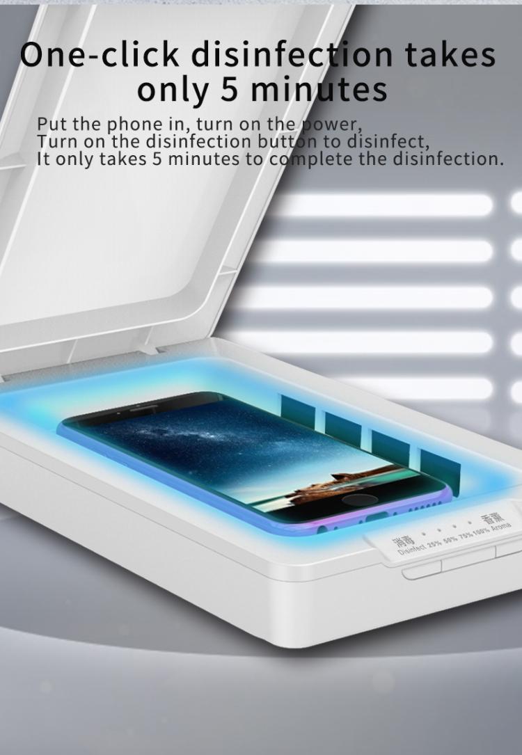 blanco Caja de esterilizaci/ón UV MZHOU caja de esterilizaci/ón de carga inal/ámbrica para tel/éfono m/óvil espejo de maquillaje extra/íble multifunci/ón herramientas de desinfecci/ón LED