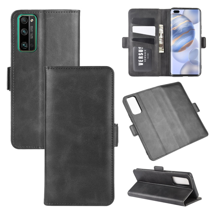 For Huawei Honor 30 Pro Dual-side Magnetic Buckle Horizontal Flip Leather Case with Holder & Card Slots & Wallet(Black)