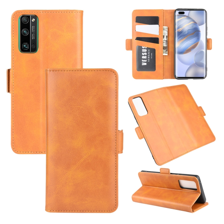 For Huawei Honor 30 Pro Dual-side Magnetic Buckle Horizontal Flip Leather Case with Holder & Card Slots & Wallet(Yellow)