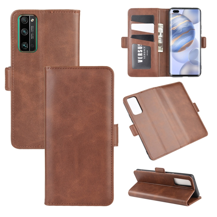 For Huawei Honor 30 Pro Dual-side Magnetic Buckle Horizontal Flip Leather Case with Holder & Card Slots & Wallet(Brown)