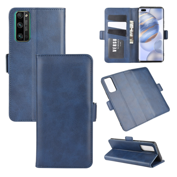 For Huawei Honor 30 Pro Dual-side Magnetic Buckle Horizontal Flip Leather Case with Holder & Card Slots & Wallet(Dark Blue)