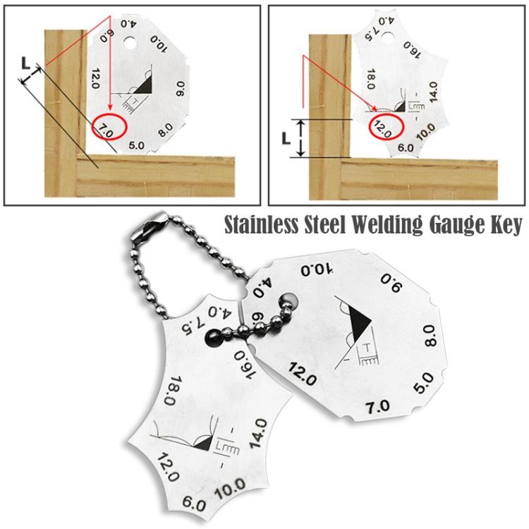 Pocket 2-Piece Gage Welding Seam Inspection Gauge Test Ulnar Ruler Stainless