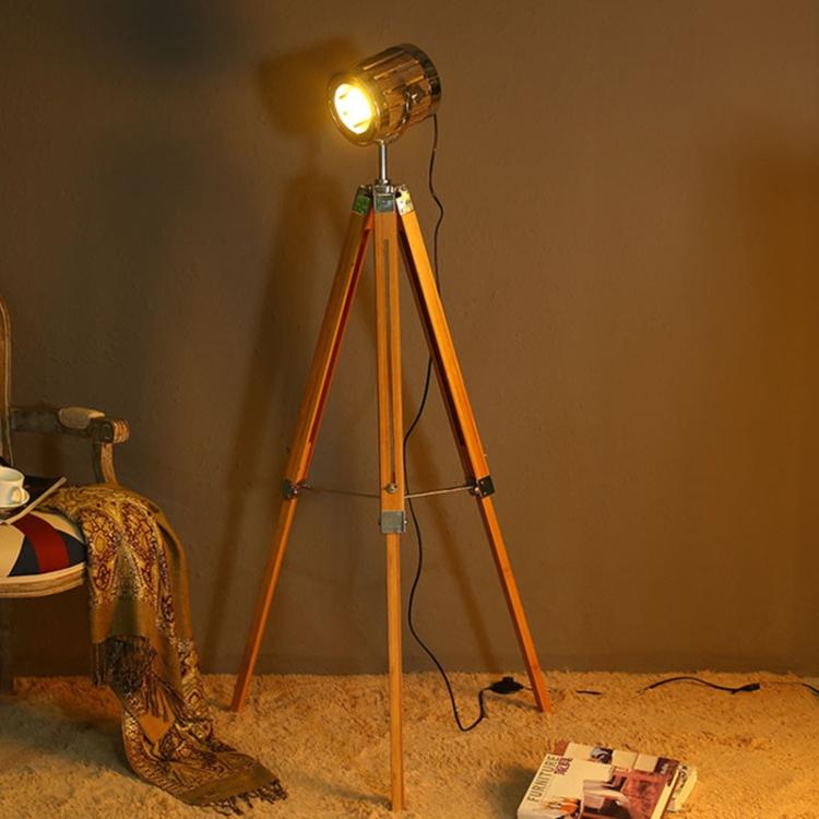 E14 Solid Wood Tripod Floor Lamp