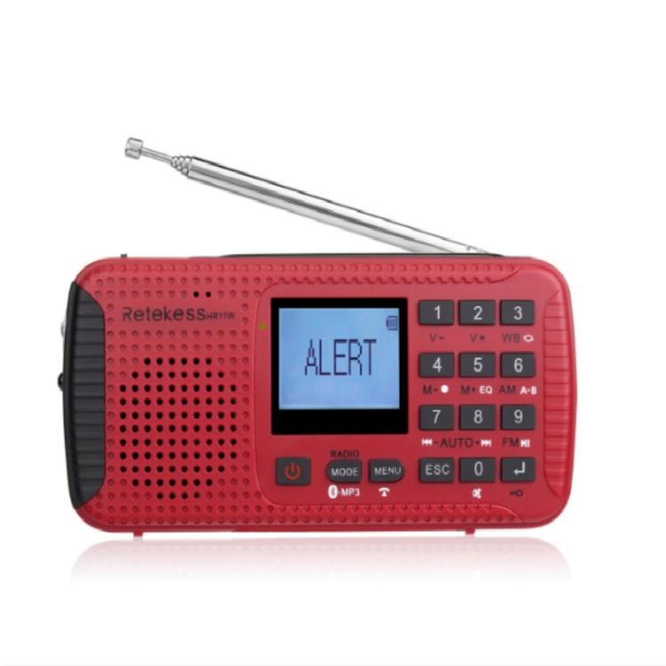 Retekess HR11W NOAA Radio Weather Solar Emergency Dynamo AM FM Wind up with SOS Flashlight Alarm MP3 Player Recorder Alarm Clock and Bluetooth
