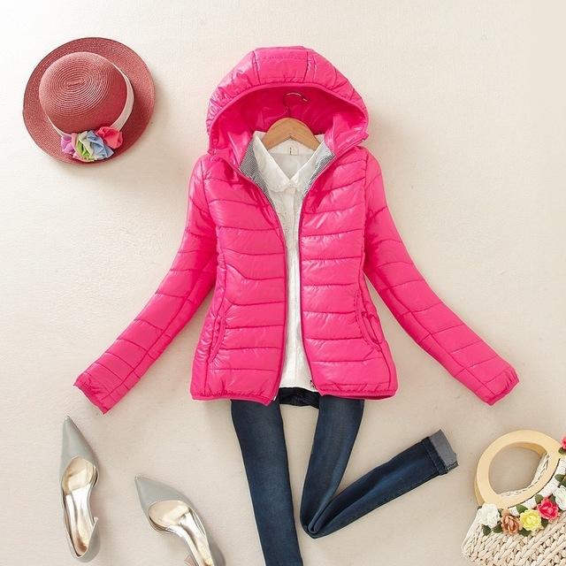 Womens Hooded Fur Winter Long Warm Parka Outwear Jackets Slim Fit Knee Length M8