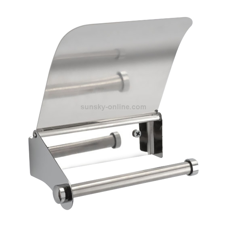 Wall Mounted Toilet Paper Roll Holder Tissue Box With Cover Stainless Steel