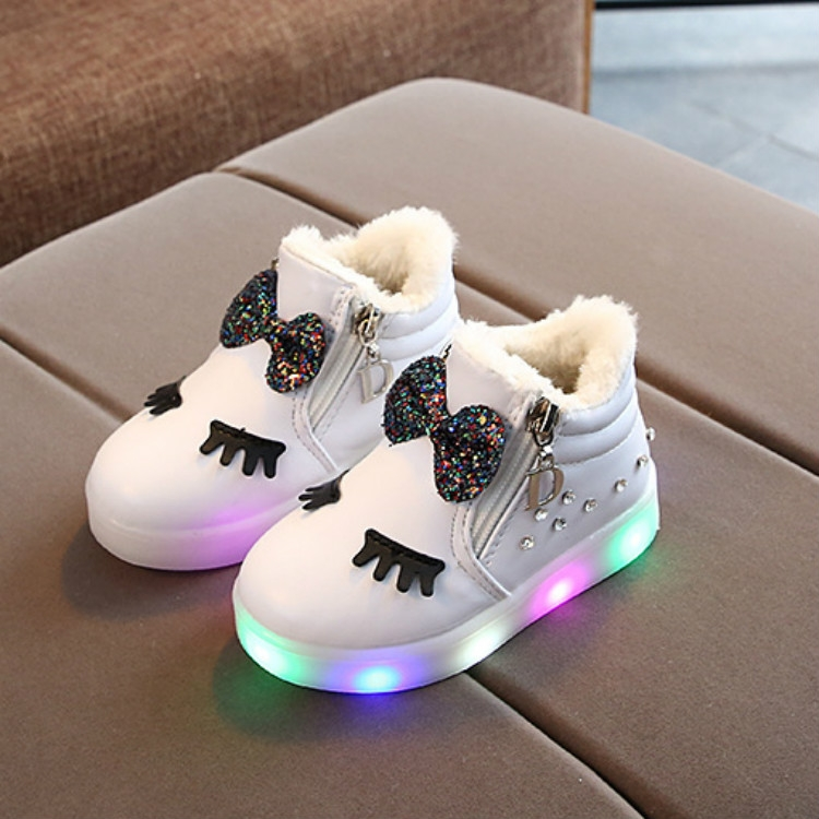 Infant Baby Girls Sport Shoes Crystal Bowknot LED Luminous Boots Sneakers Beauty