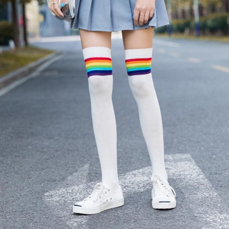 Women/'s Striped Cotton Thigh High Knee Socks Sweet Cute Rainbow Long Socks 4B82