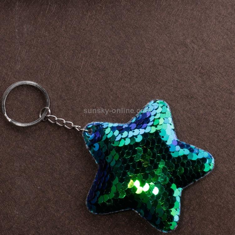 Cute Sequin Star Keychain Women Car Bag Purse Pendant Colorful Key Ring Keyrings