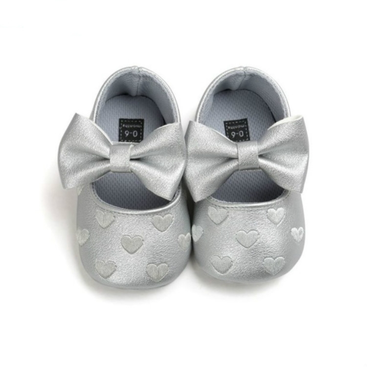 6-12 Month, Silver-White Baby Boys Girls Soft Soled Bowknots Crib Shoes with Butterfly PU Moccasin with Head Band
