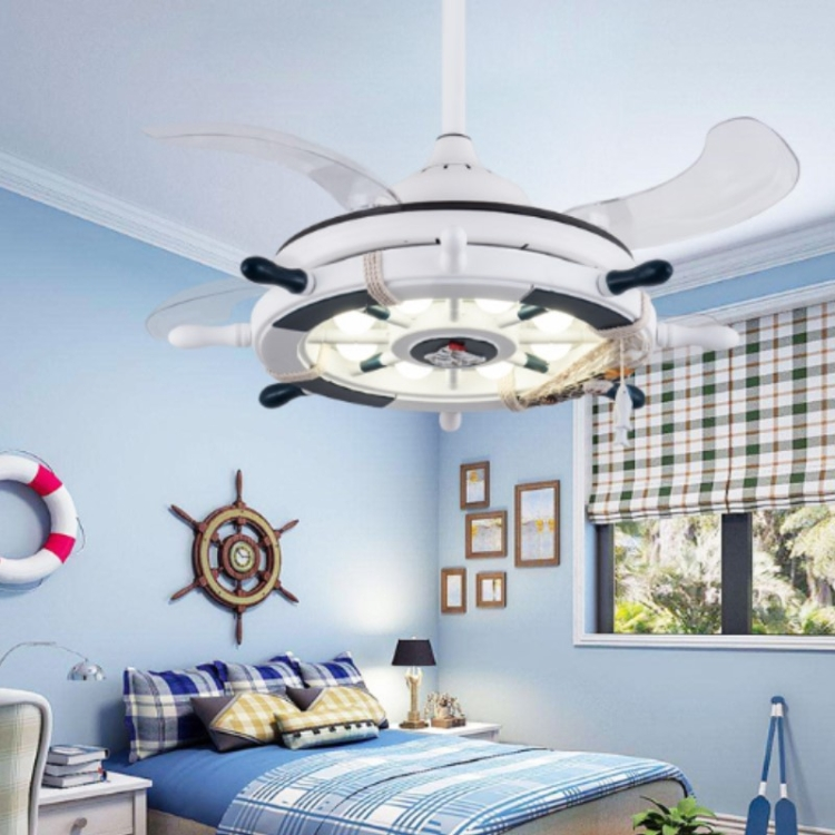 Sunsky Creative Rudder Fan Light Children Bedroom Invisible Small Ceiling Fan With 3 Gear Dimming 42 Inch S Sailing Wall Control