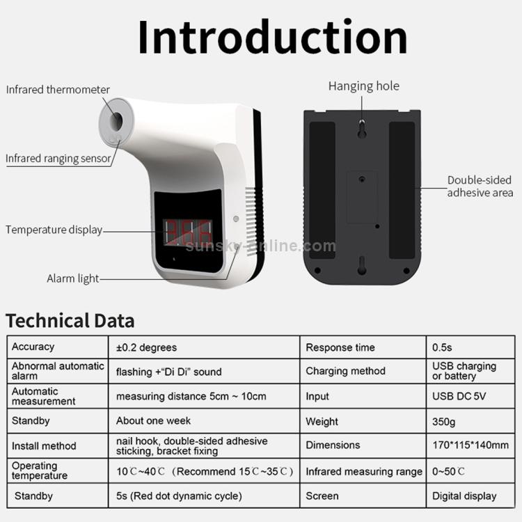 Sunsky Hk Almacen Termometro Infrarrojo Corporal Sin Contacto Manos Libres K3 Scegli la consegna gratis per riparmiare di più. termometro infrarrojo corporal sin