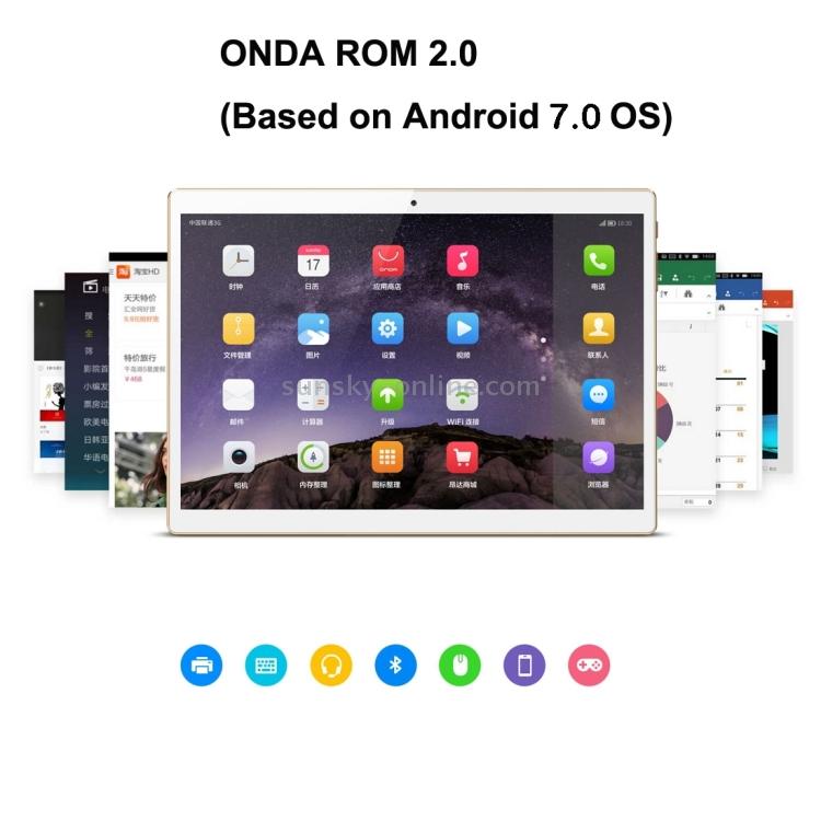 Фото ONDA V10 4G Calling Tablet, 10.1 inch, 2GB+32GB, CE / FCC / ROHS / WEEE Certificated, Dual SIM, Dual Camera, ONDA ROM 2.0 (Based on Android 7.0 OS), MTK6753 Octa Core 1.3GHz, Support 128GB Micro SD / TF Card, WiFi, Bluetooth 4.0, GPS, FM. Купить в РФ