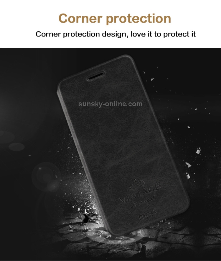 MOFI Crazy Horse Texture Horizontal Flip Protective Leather Case for Xiaomi Redmi S2, with Holder & Card Slot(Black)