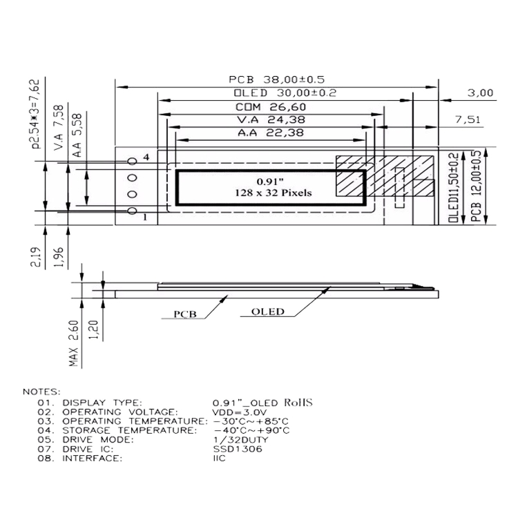 SUNSKY - LDTR-WG0185 0 91 inch 128x32 IIC I2C Blue/White OLED LCD