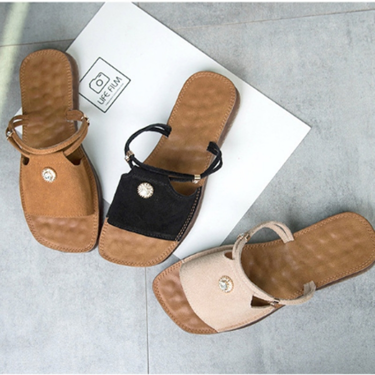 Suede Flat Bottom Non-slip Wear-resistant Two-use Sandals for Women (Color:Brown Size:39)