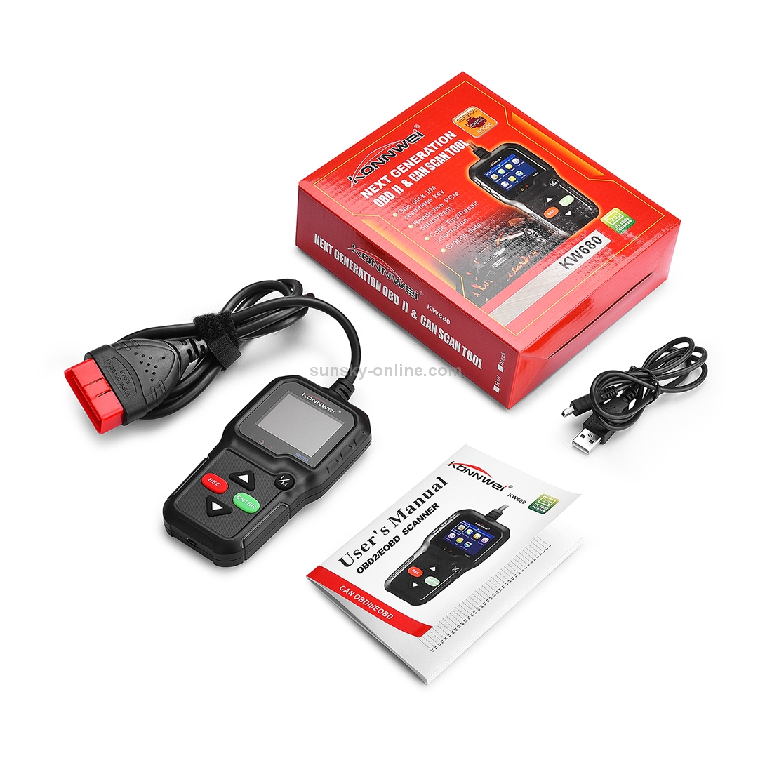 SUNSKY - KW680 Mini OBDII Car Auto Diagnostic Scan Tools Auto Scan