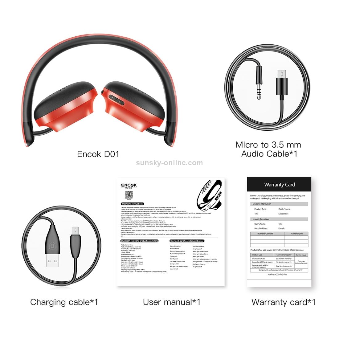 SUNSKY - Baseus Encok D01 Headband Bluetooth / wired