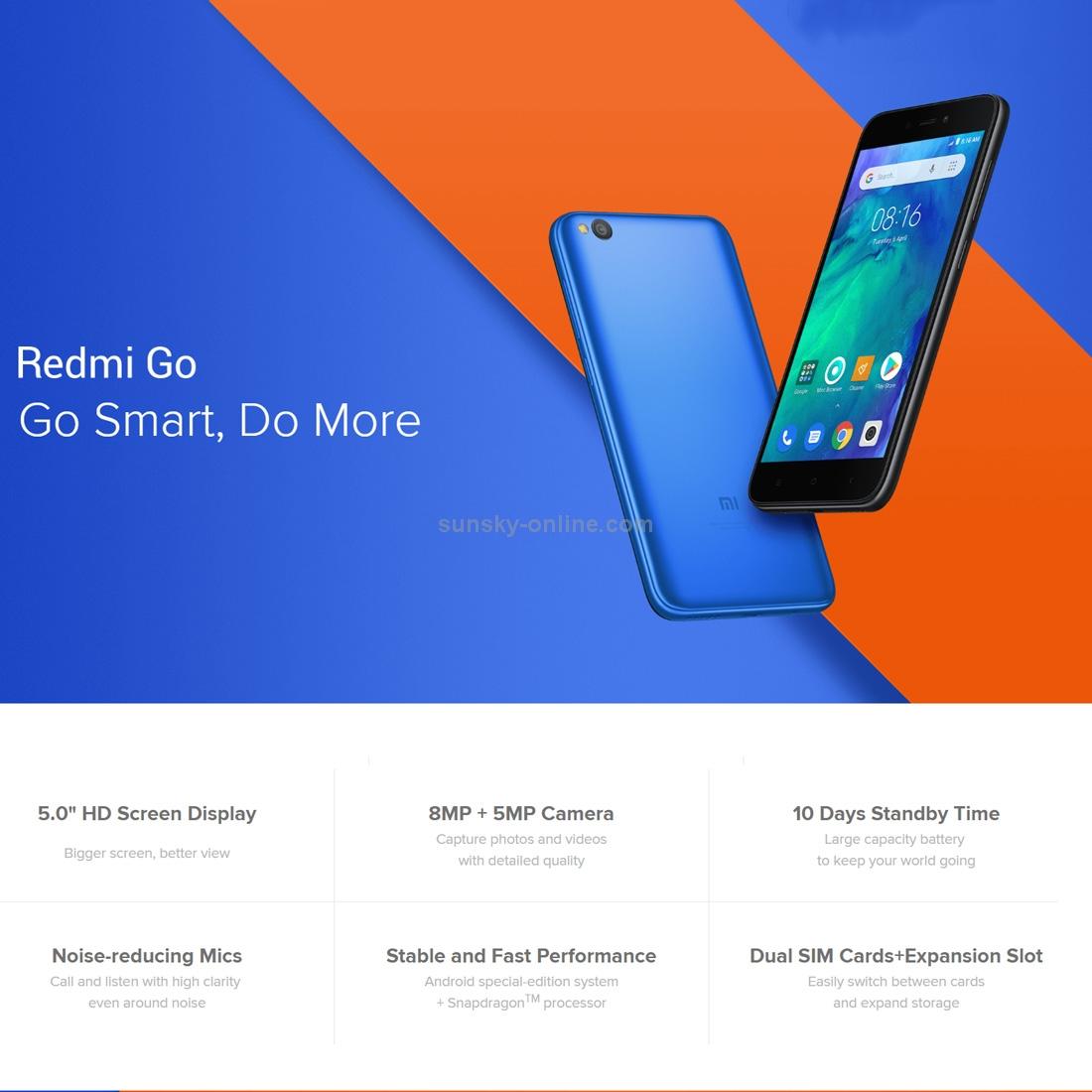 SUNSKY - [คลังสินค้า HK] Xiaomi Redmi Go, 1GB 8GB, เวอร์ชั่นเป็น
