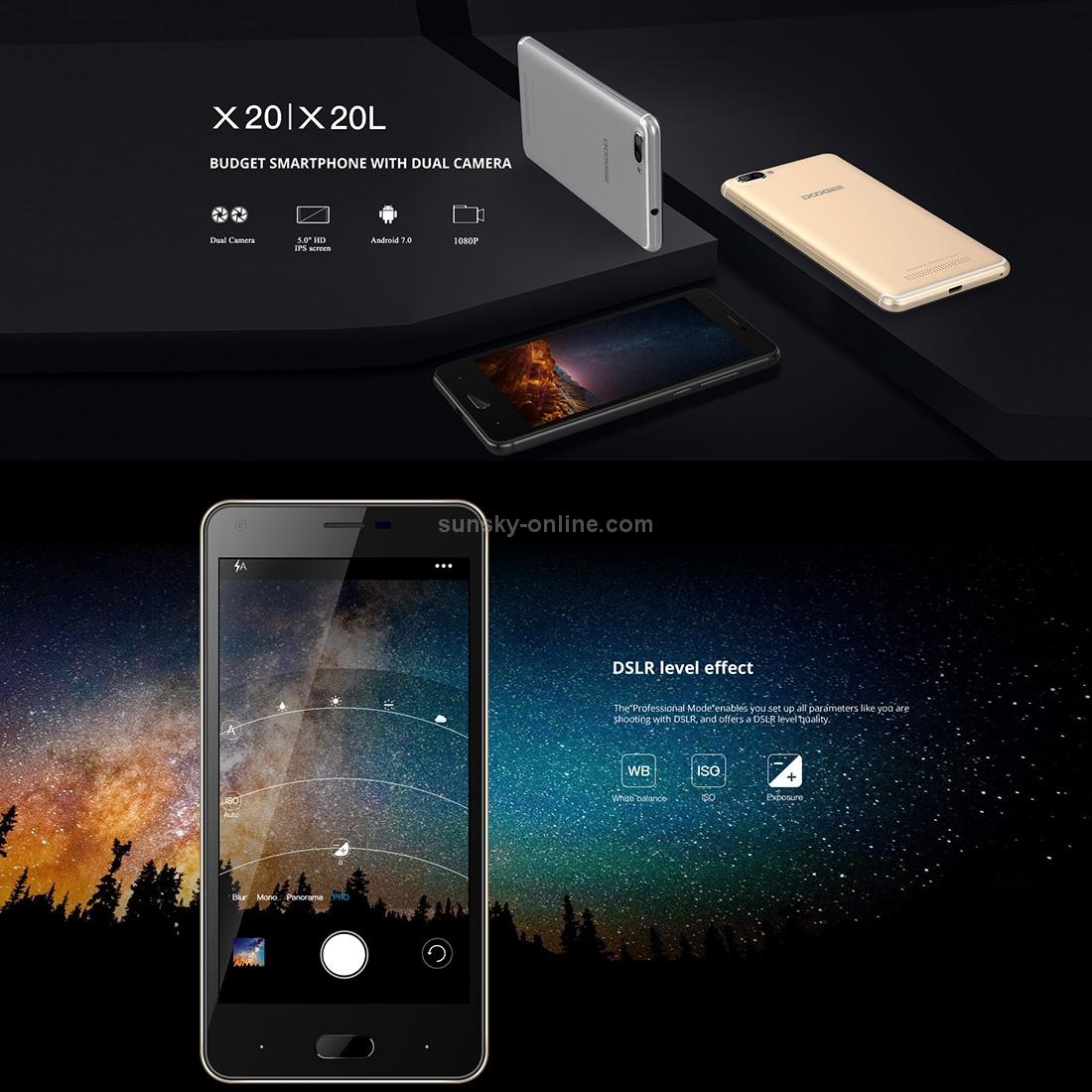 SUNSKY - [RU Stock] DOOGEE X20, 2GB+16GB, Dual Back Cameras, 5 0