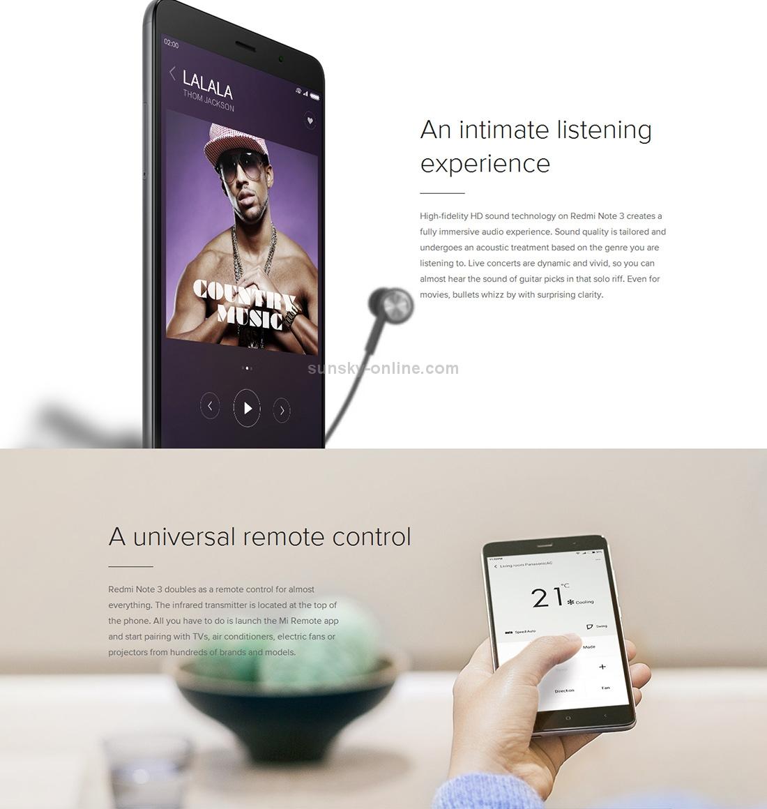 SUNSKY - Xiaomi Redmi Note 3, 2GB+16GB, Back Fingerprint