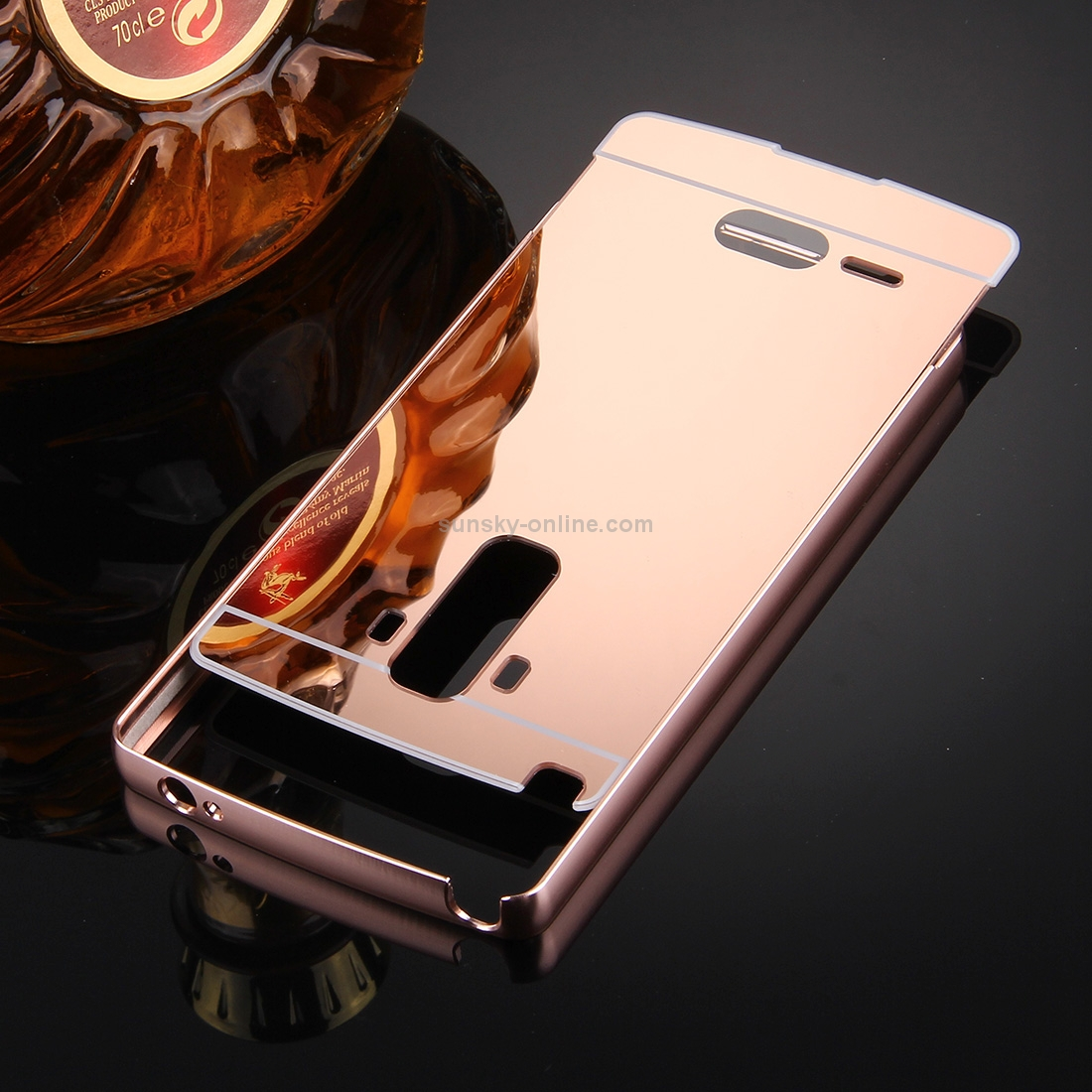 SUNSKY - For LG G4 Stylus Electroplating Mirror Push Pull PC Protective Case Back Shell Cover + Metal Bumper Frame(Rose Gold)