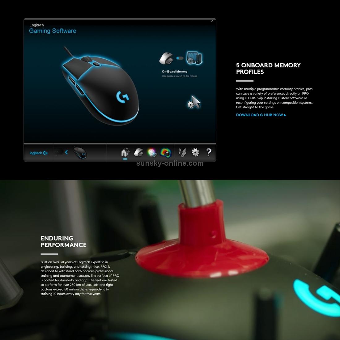 SUNSKY - Logitech G Pro 16000DPI RGB Illumination Macro Programming