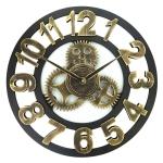 70210a2f4 الرجعية خشبية جولة Singlesided والعتاد عدد على مدار الساعة ساعة الحائط ،  القطر: 45cm (الذهبي)