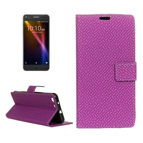 Buy For Alcatel Onetouch X1 7053D Weaving Texture Horizontal Flip PU Leather Case with Magnetic Buckle & Holder & Card Slots & Wallet & Photo Frame, Purple for $3.19 in SUNSKY store