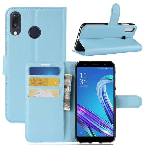 For Asus Zenfone Max (M1) ZB555KL Litchi Texture Horizontal Flip Leather Case with Wallet & Holder & Card Slots(Blue)