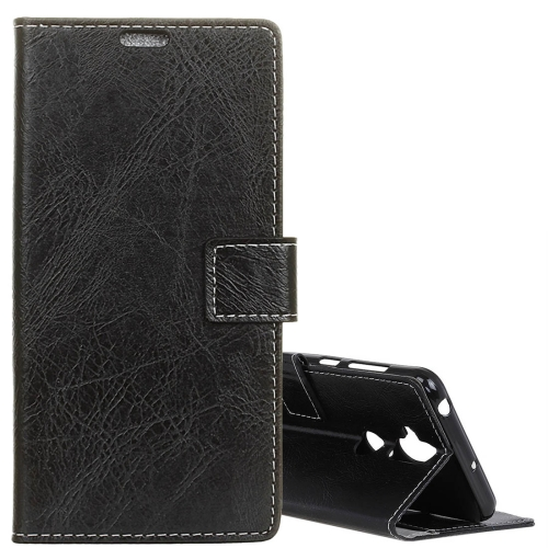 For Asus Zenfone 5 Lite ZC600KL Vintage Crazy Horse Texture Horizontal Flip Leather Case with Wallet & Holder & Card Slots & Photo Frame(Black) slymaoyi genuine crazy horse cowhide leather men wallets fashion purse with card holder vintage short wallet clutch wrist bag