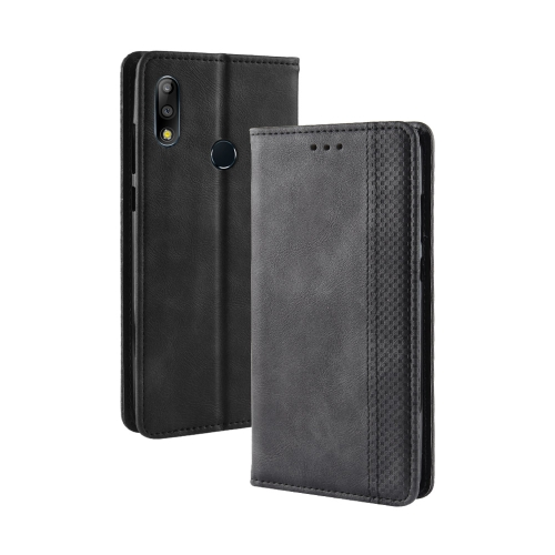 Magnetic Buckle Retro Texture Horizontal Flip Leather Case for Asus Zenfone Max Plus (M2) ZB634KL / Zenfone Max Shot ZB634KL, with Holder & Card Slots & Wallet (Black)