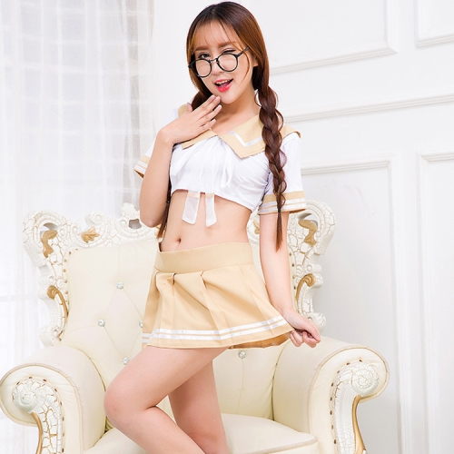 SUNSKY - FunAdd Women European and American Sexy Japanese Student Uniforms  Suit Cosplay Uniform Temptation Enticing Lingeries, Free Size (Yellow)