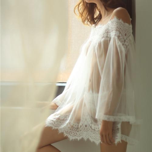 FunAdd Women Sexy Adult Lingerie Lace Transparent Mesh Chiffon Underwear Skirt, Size: M