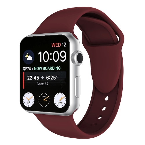 Double Rivets Silicone Watch Band for Apple Watch Series 3 & 2 & 1 42mm (Wine Red)