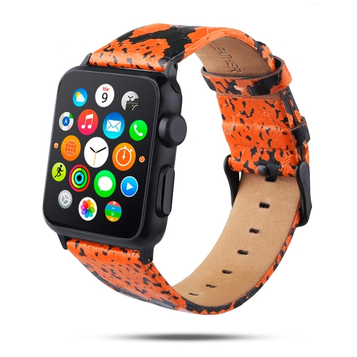 Snake Skin Texture Top-grain Leather Strap for Apple Watch Series 4 40mm & Series 3 & 2 & 1 38mm (Orange)